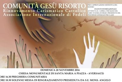 (Italiano) S. Messa di ringraziamento per il Decreto di Approvazione dello Statuto Internazionale