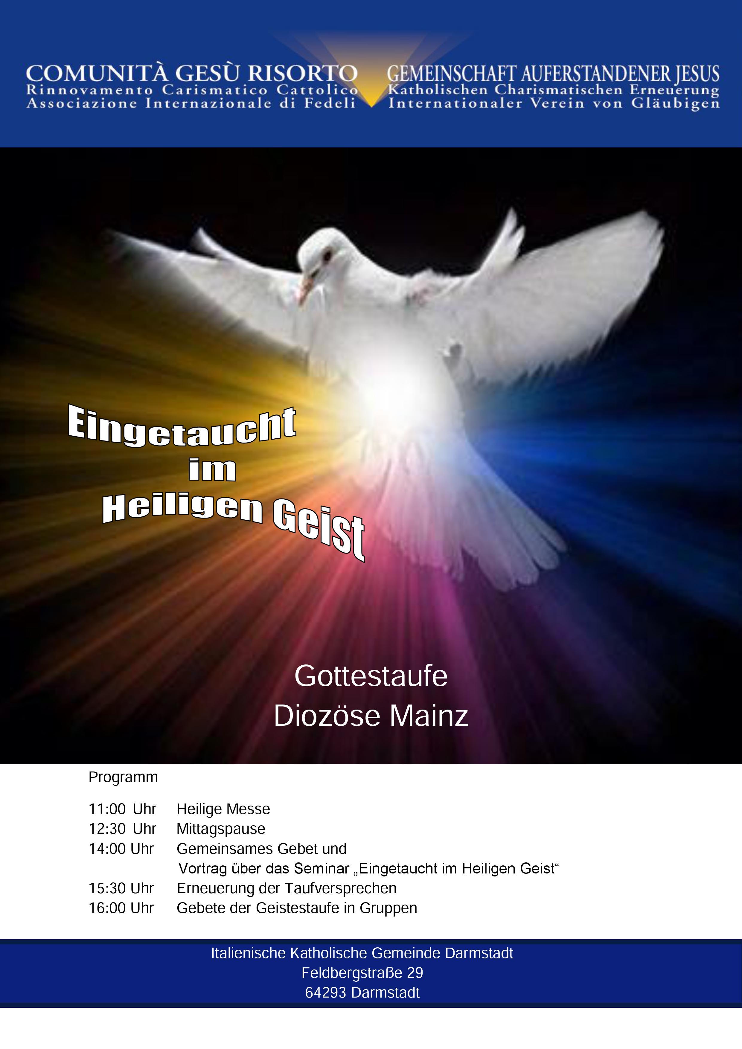(Italiano) Ritiro Preghiera per Effusione dello Spirito Santo – diocesi di Mainz